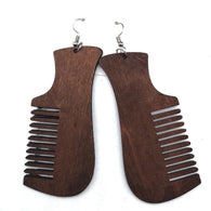 Comb earrings - afro hair comb - brown