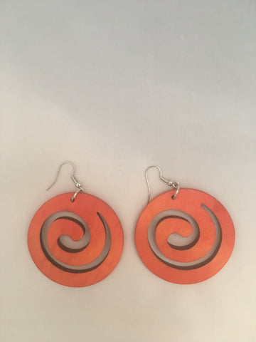 Wooden swirl earrings - orange