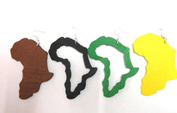 Africa earrings - green wooden earrings