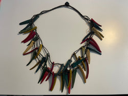 Coconut shell statement necklace