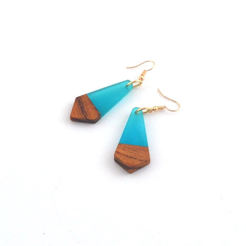 Geometric antique wood resin earrings