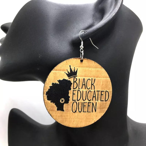Black educated queen - wooden earrings