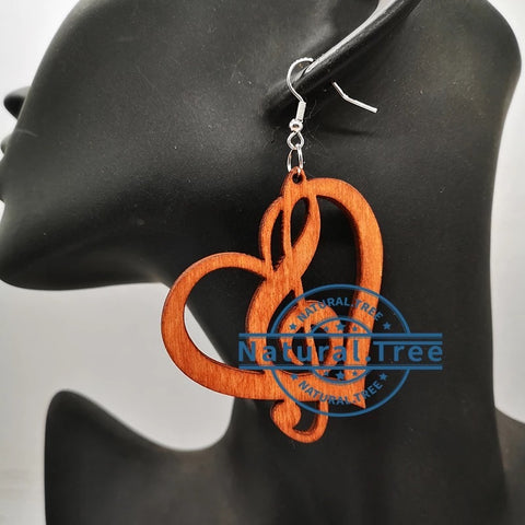 music symbol wooden earring (Treble Clef)