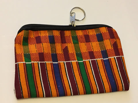 Small zipped african print purse