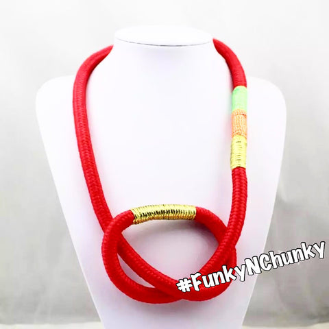Red twisted trendy rope statement necklace