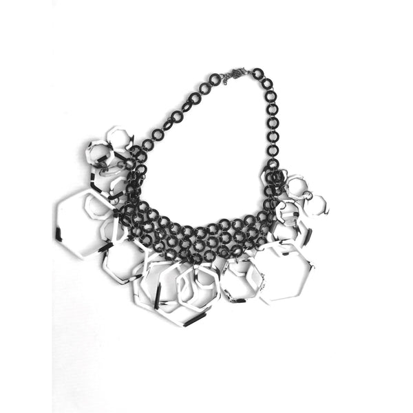 Black and white geometric statement necklace