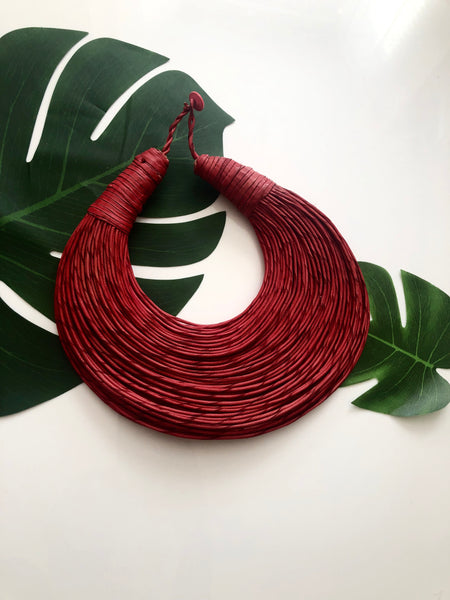 Red leather layered statement necklace