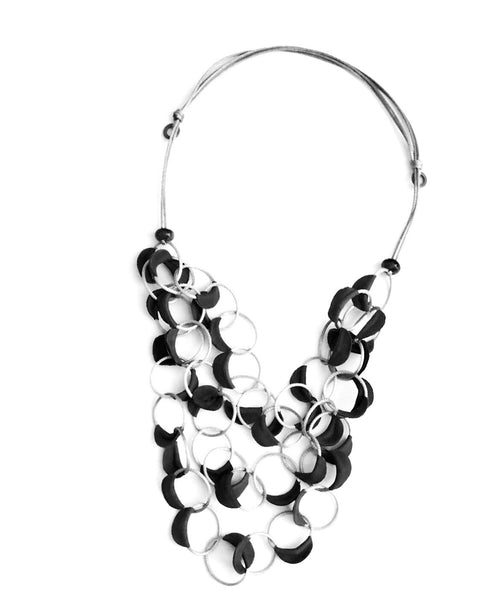 Grey and silver geometric statement necklace