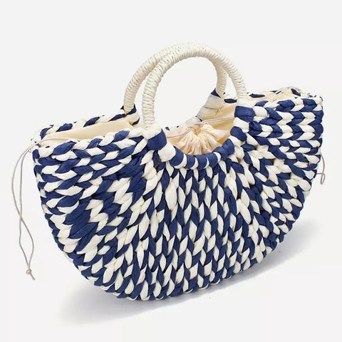 Blue and white - straw bag & rattan handbag