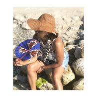 African Leather Folding Fan - Blue