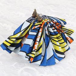 African Fabric fan shaped earrings