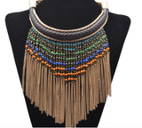 Dropchain tassle statement chain necklace