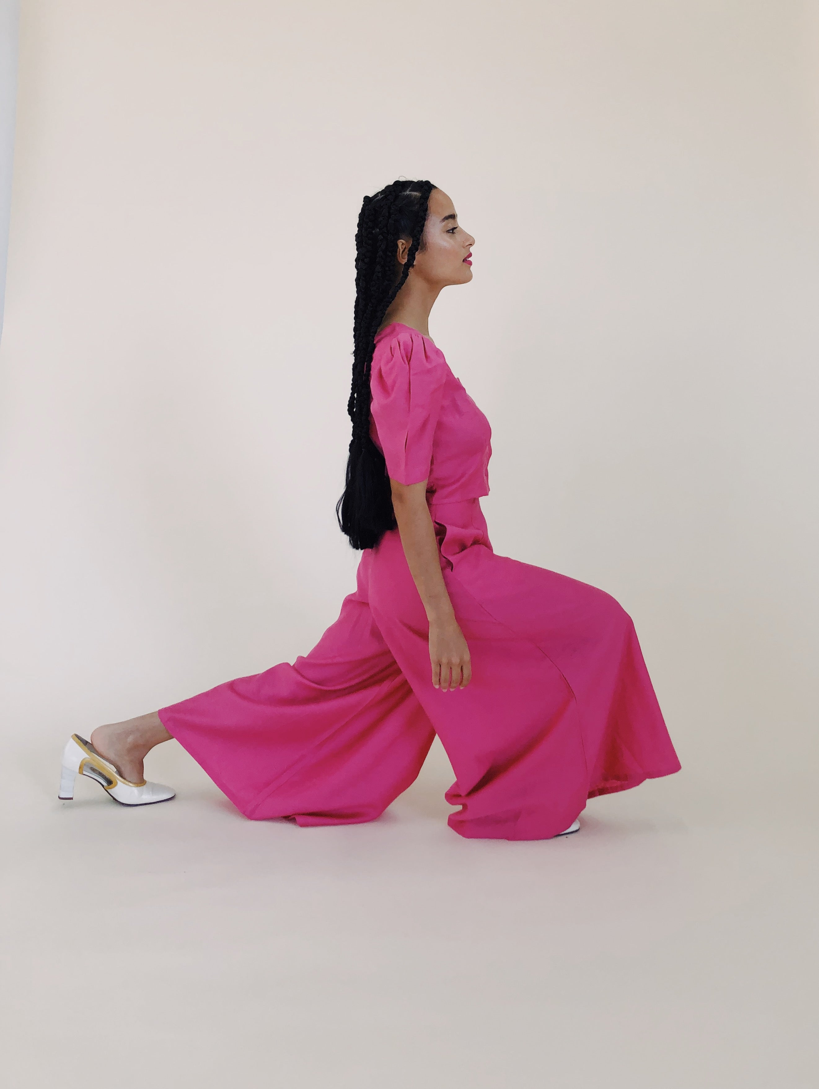 Fuchsia Silk Linen Woodhouse Pant