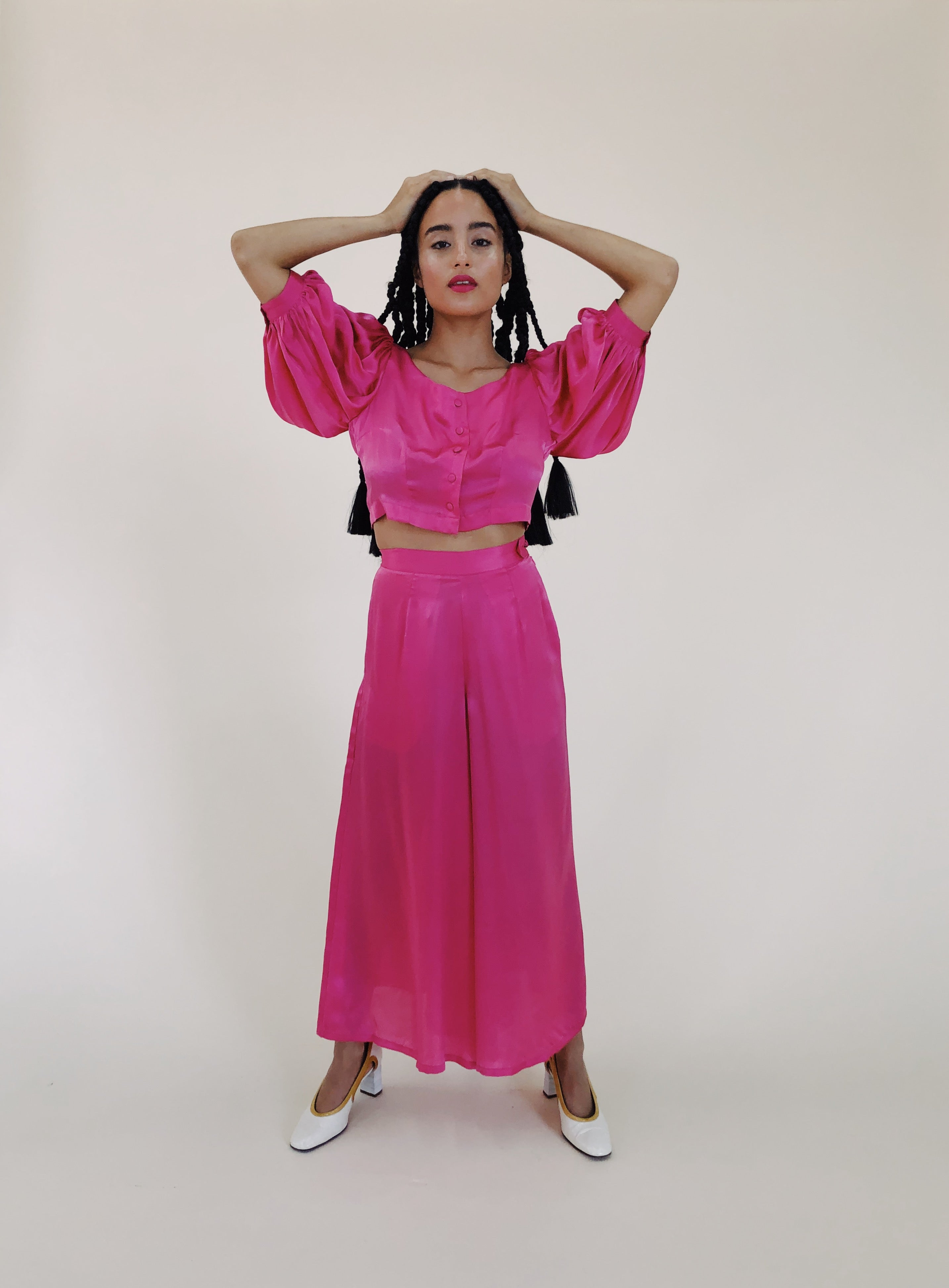 Fuchsia Silk Satin Woodhouse Pant