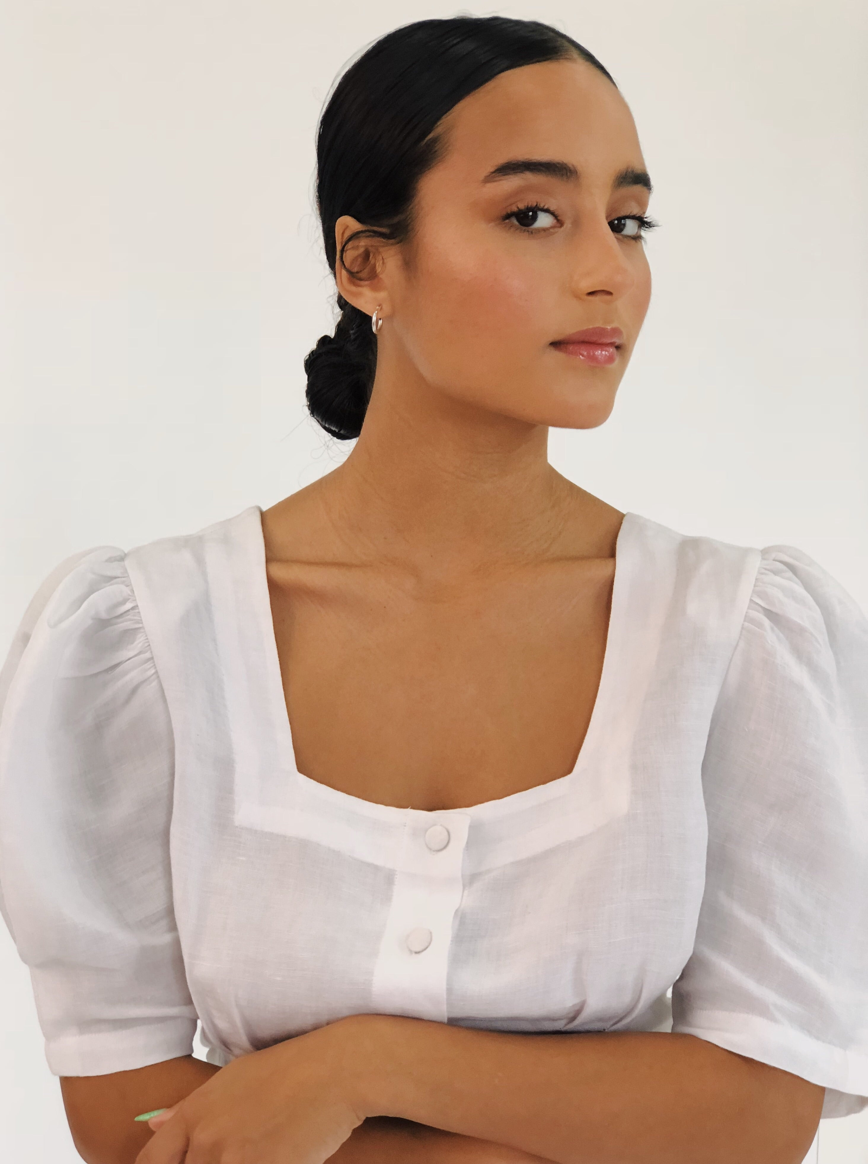 White Linen Harriet Blouse
