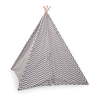 Childwood TIPI TENT ZIGZAG in grau-weiss bei KidsWoodLove