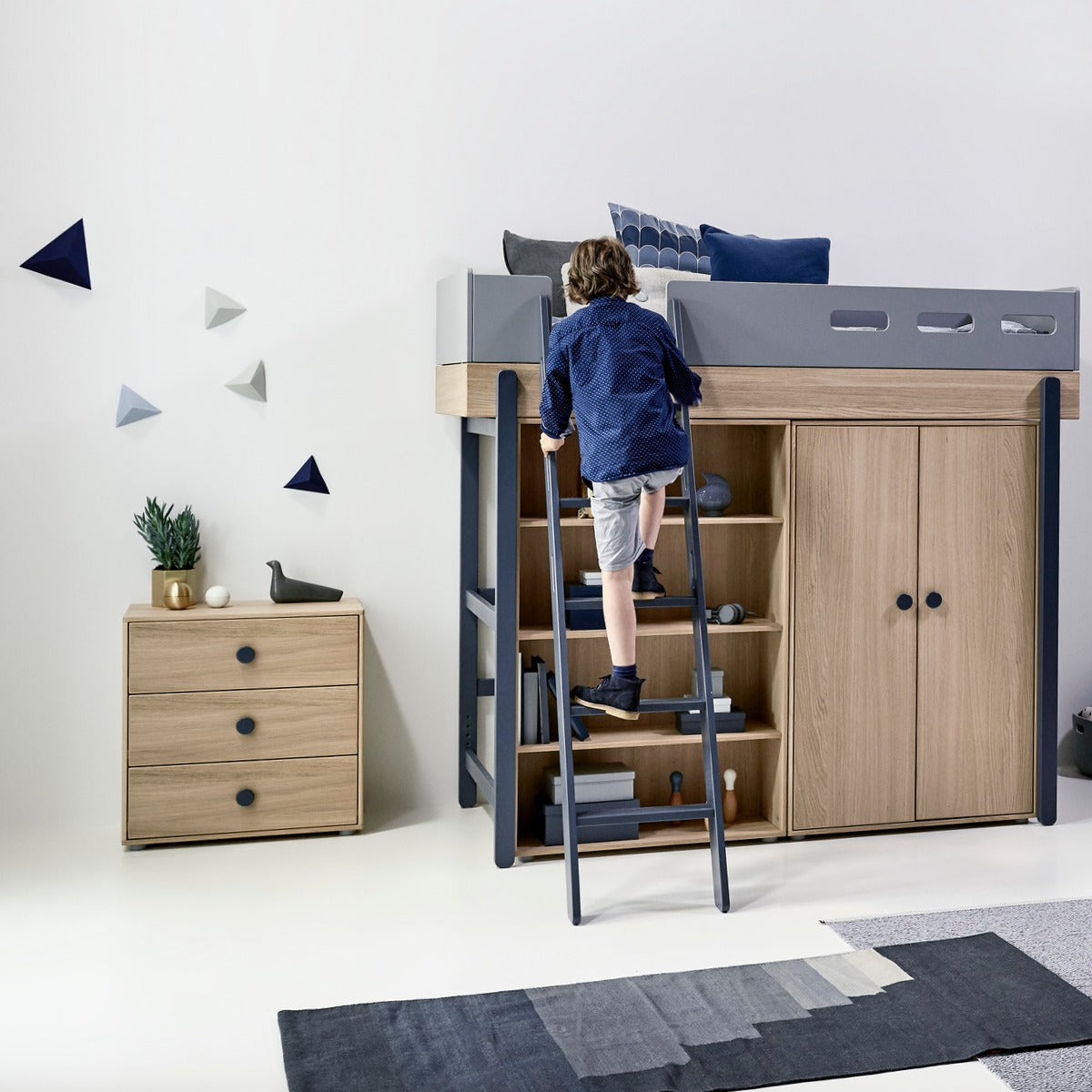 flexa kinder schrank popsicle eiche blau online kaufen kidswoodlove. Black Bedroom Furniture Sets. Home Design Ideas