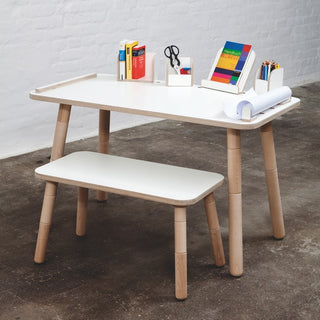 Pure Position Sitzbank in weiss für Growing Table bei KidsWoodLove