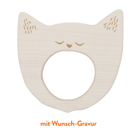"Wooden Story Greifling ""Yawning Cat"" aus Ahornholz mit Wunsch-Gravur"