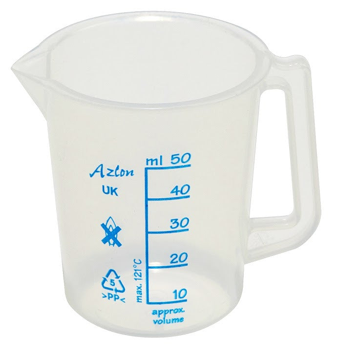 Polypropylene Beaker - with Handle (plastic) ~ 50mL - The Science Shop