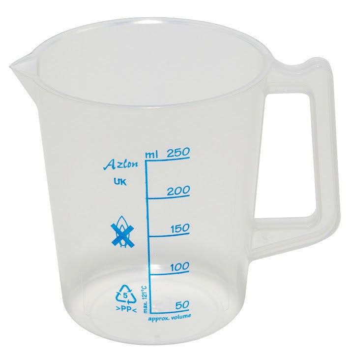 Polypropylene Beaker - with Handle (plastic) ~ 250mL - The Science Shop