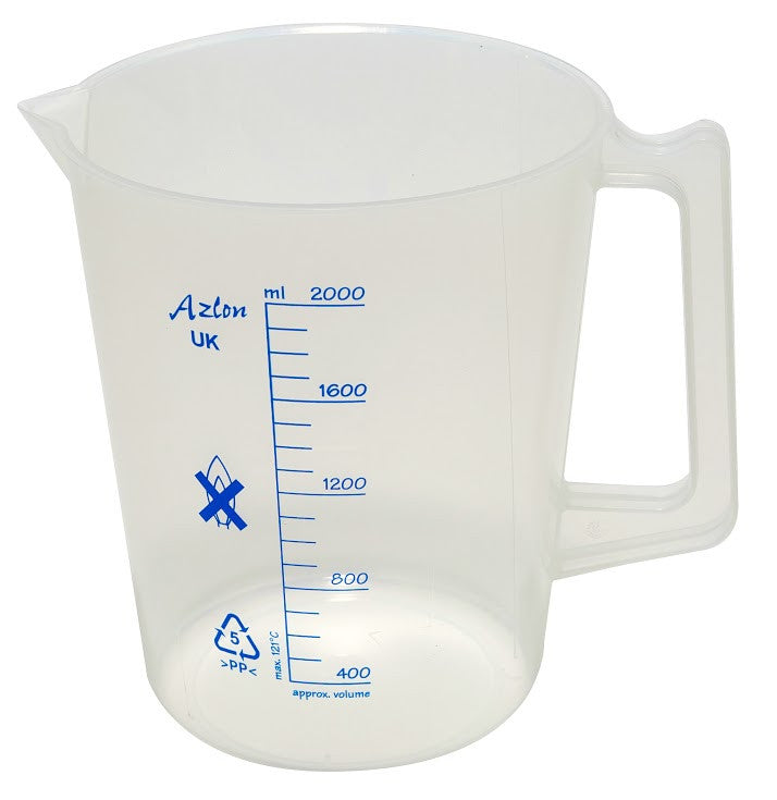 Polypropylene Beaker - with Handle (plastic) ~ 2000mL (2L) - The Science Shop