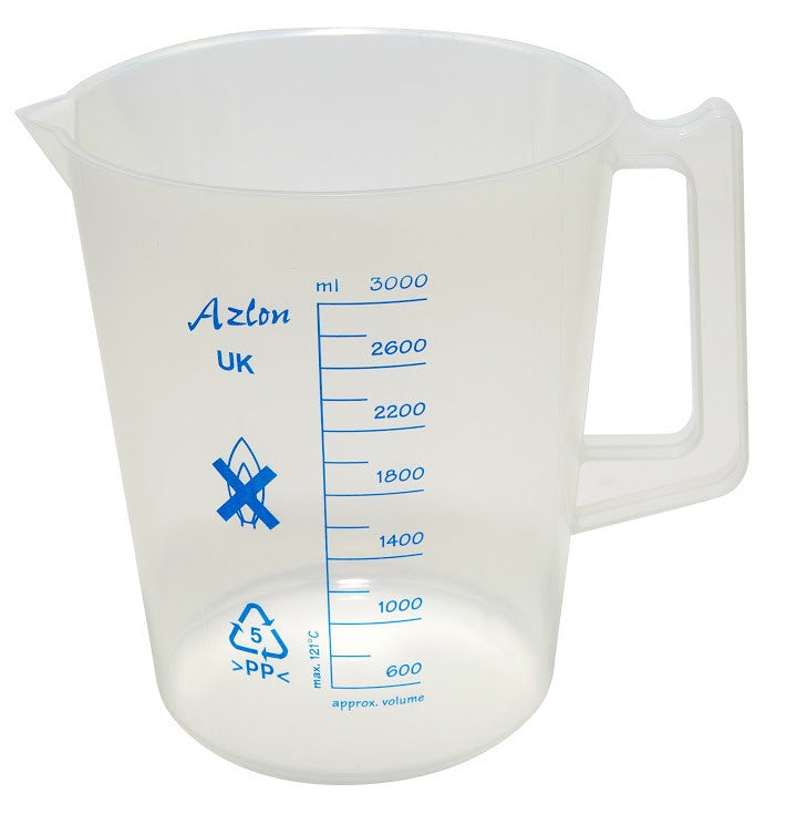 Polypropylene Beaker - with Handle (plastic) ~ 3000mL (3L) - The Science Shop