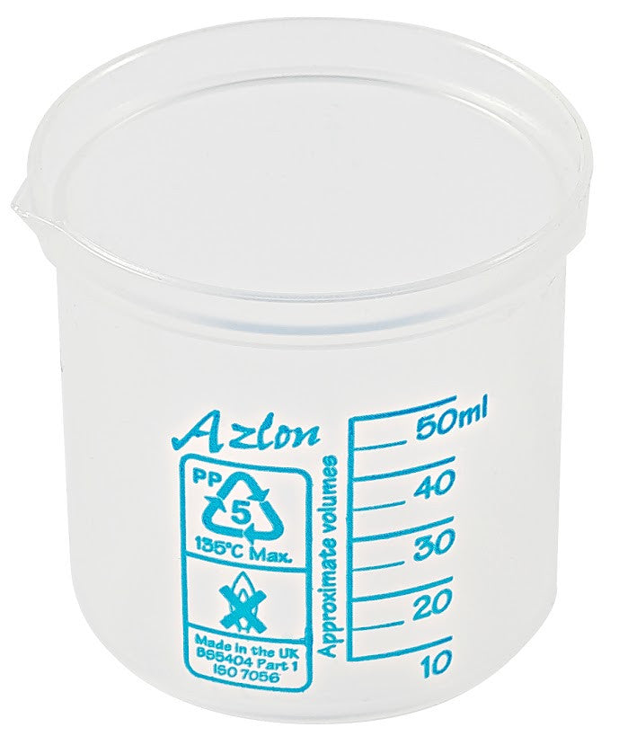Azlon Polypropylene Graduated Beaker - 50 ml - The Science Shop