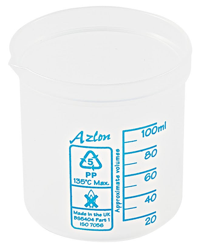 Azlon Polypropylene Graduated Beaker - 100 ml - The Science Shop