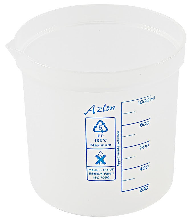 Azlon Polypropylene Graduated Beaker - 1000 ml - The Science Shop