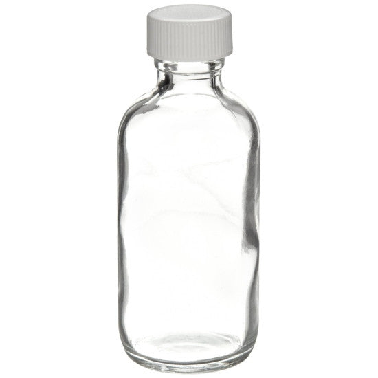 Clear Boston Round Glass Bottles ~ 4 oz. 125mL - The Science Shop