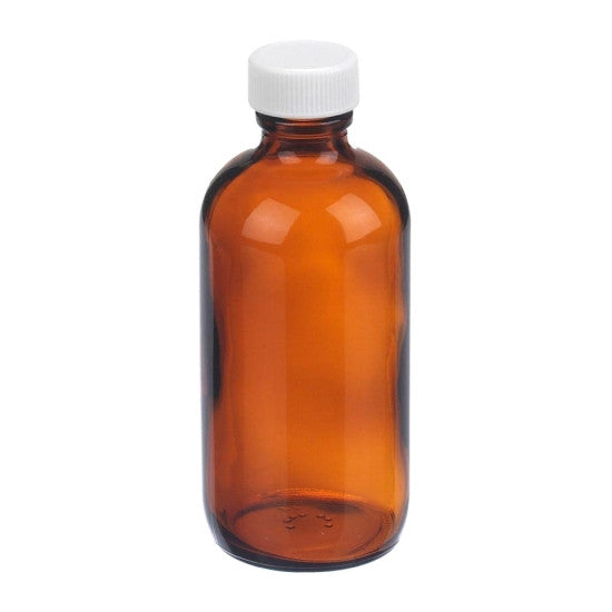 Amber Boston Round Glass Bottles ~ 8 oz. 250mL - The Science Shop