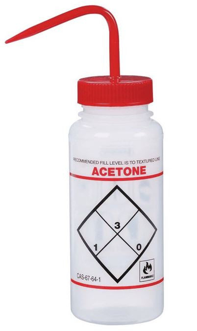 Labeled Wash Bottle; Capacity: 500mL; Type: Acetone - The Science Shop