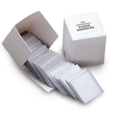 22x22mm Plastic Cover Slips 100/PK - The Science Shop
