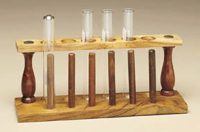 Test Tube Support (6 tubes) Wooden w/ Drying Rack - The Science Shop