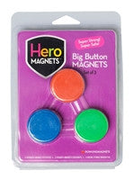 Hero Magnets: Big Button Magnets, set of 3 - The Science Shop