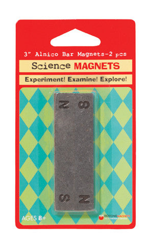 "Alnico Bar Magnets with North and South poles stamped. 3""L x .50""W x .25""T – 2 pcs - The Science Shop"
