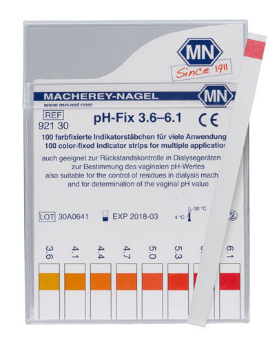 pH-Fix 3.6 - 6.1 Test Strips 100/pk - The Science Shop