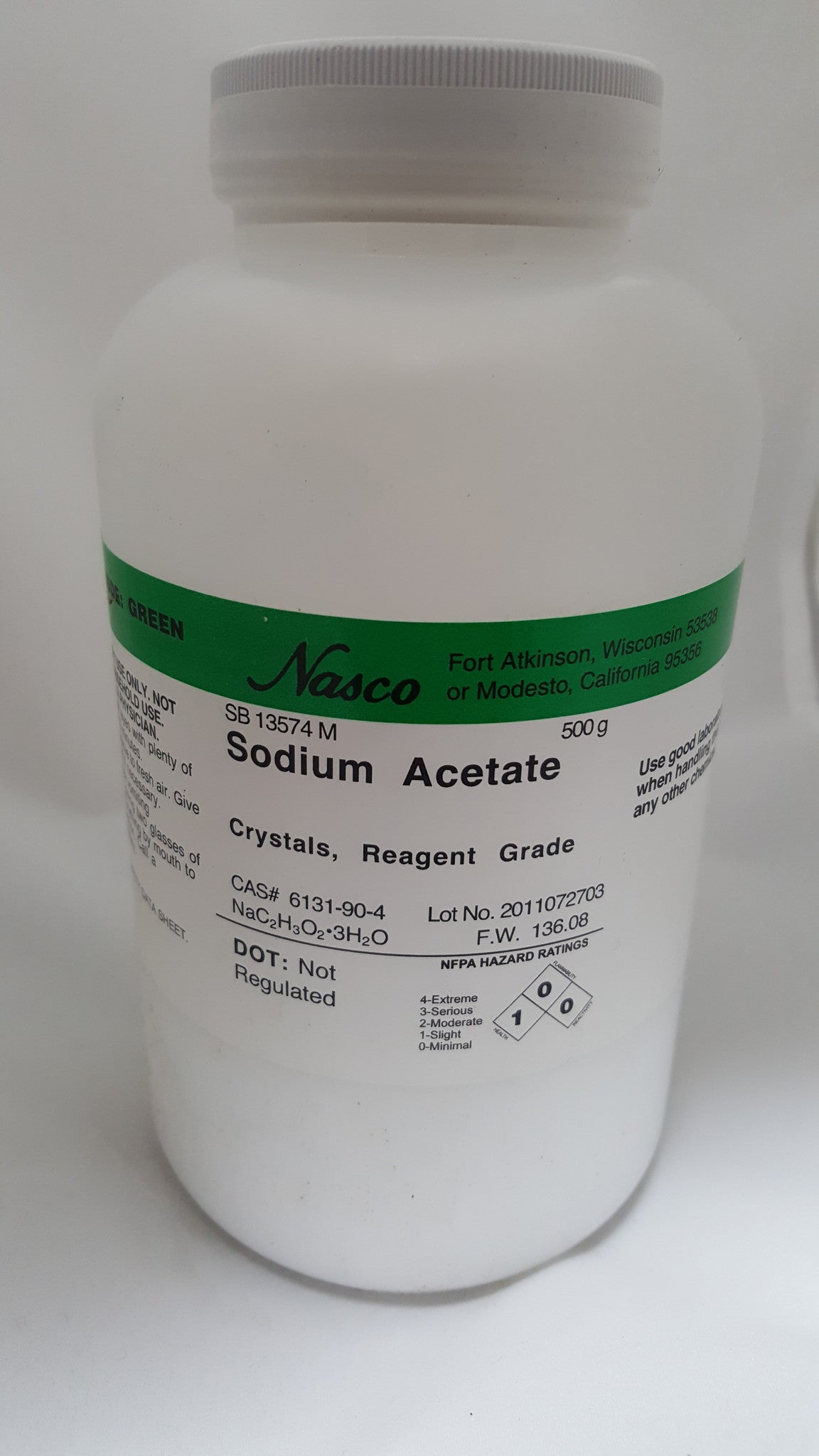 Sodium Acetate - Trihydrate 500g Reagent Grade, Crystals - The Science Shop