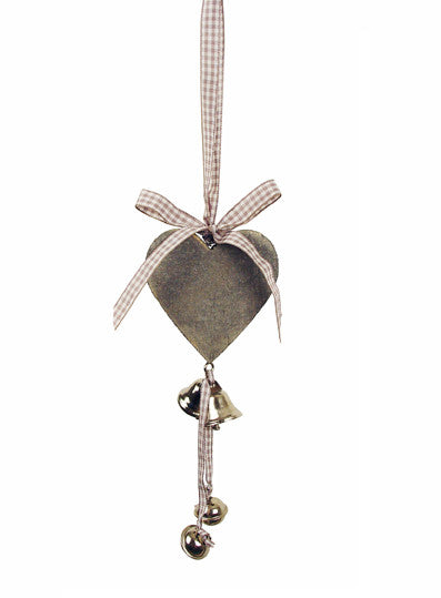 Grey Wooden Heart and Bells