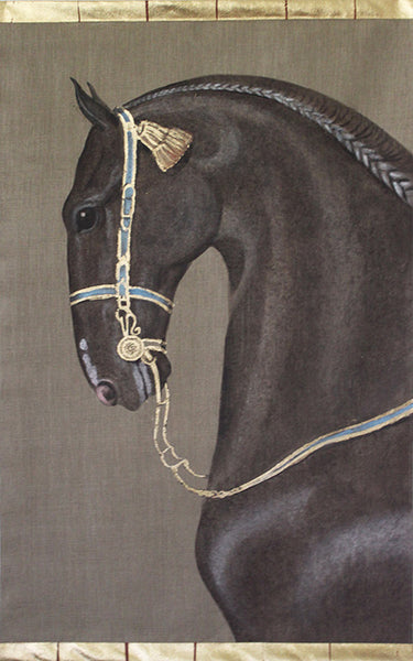 Decorated Dark Brown Horse Wall Hanging