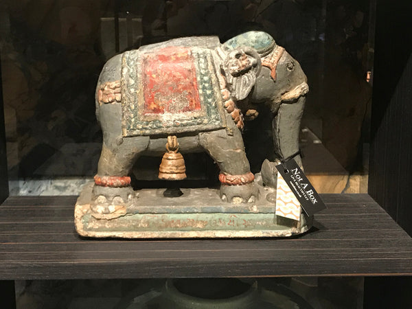 Hand Painted Carved Stone Elephant Candle Holder