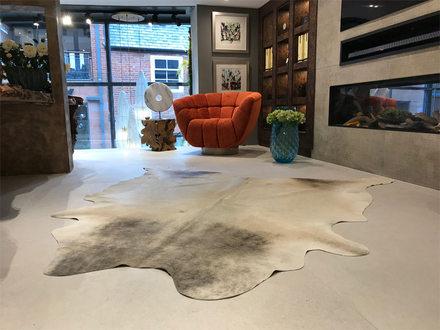 Large Cowhide Natural Grey Rug