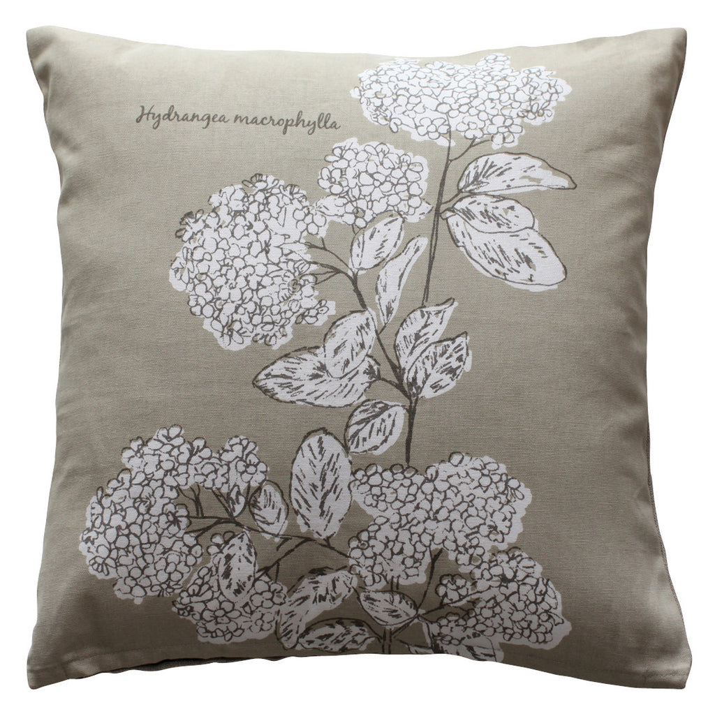 Luxury Feather Padded Cushion - Painted Flower Taupe 1