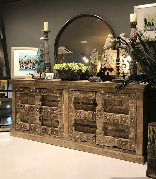 Large Wooden Handcrafted Sideboard