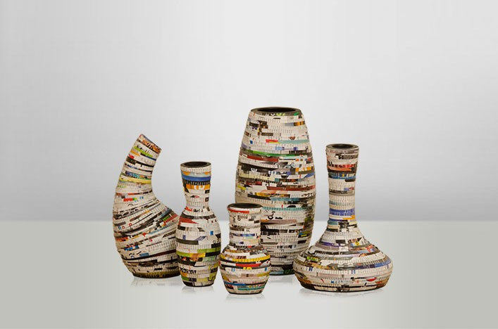 Set of 5 Recycled Paper Vases