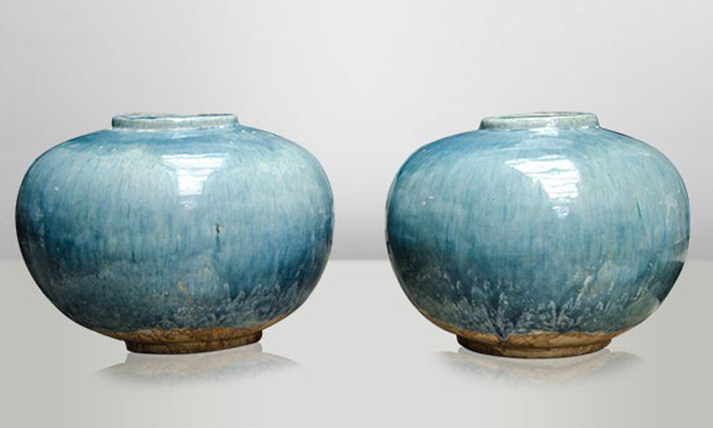 Large Round Blue Ceramic Vase
