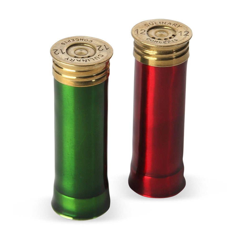 Red & Green Enamel Cartridge Cruet Set
