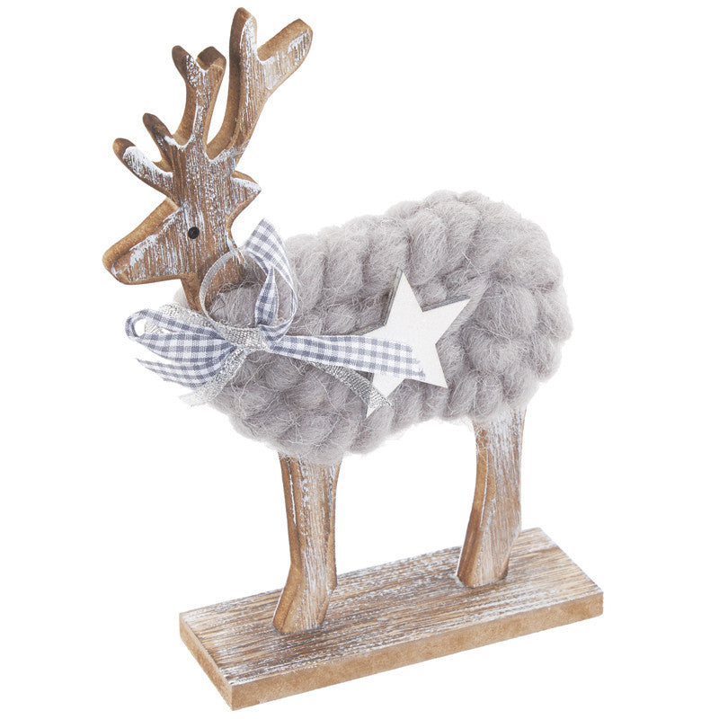 Woolly Reindeer Decoration With Star