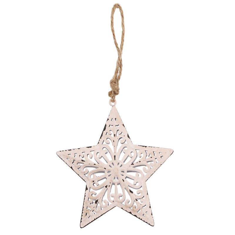 Pink Metal Filigree Star Hanger